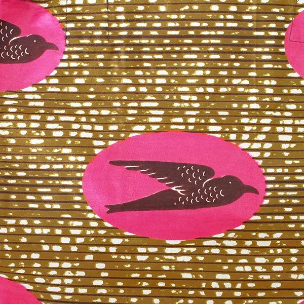 マリ 足踏みミシンで仕立てた パーニュ 巾着 エコバッグ(NEWサイズ ツバメ ピンク)【画像2】