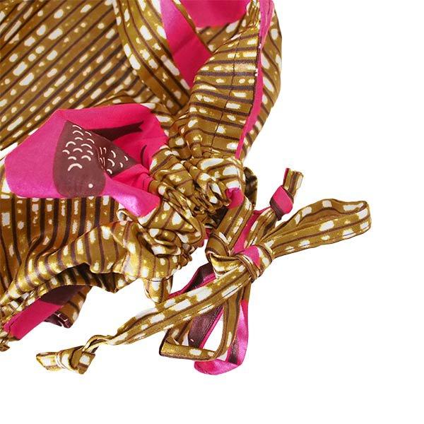 マリ 足踏みミシンで仕立てた パーニュ 巾着 エコバッグ(NEWサイズ ツバメ ピンク)【画像3】