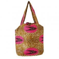 バッグ 【NEW サイズ】マリ 足踏みミシンで仕立てた パーニュ 巾着 エコバッグ(ツバメ ピンク)