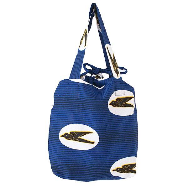 マリ 足踏みミシンで仕立てた パーニュ 巾着 エコバッグ(NEWサイズ ツバメ ブルー)