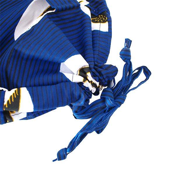 マリ 足踏みミシンで仕立てた パーニュ 巾着 エコバッグ(NEWサイズ ツバメ ブルー)【画像3】