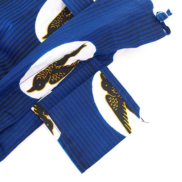 マリ 足踏みミシンで仕立てた パーニュ 巾着 エコバッグ(NEWサイズ ツバメ ブルー)【画像4】