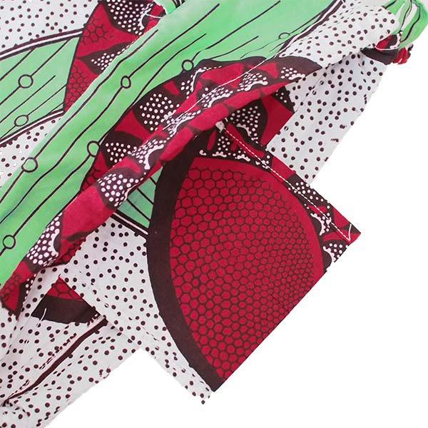 【HARMONY FOR PEACE】マリ 足踏みミシンで仕立てた パーニュ 巾着 エコバッグ(丸模様 レッド)【画像3】