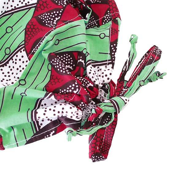 【HARMONY FOR PEACE】マリ 足踏みミシンで仕立てた パーニュ 巾着 エコバッグ(丸模様 レッド)【画像4】