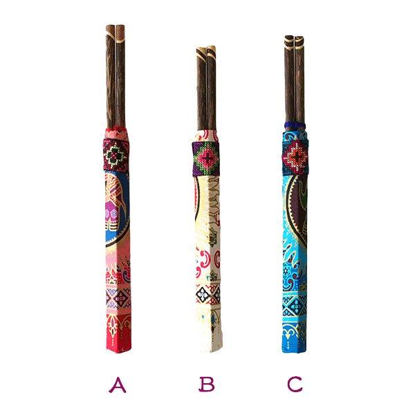 ヤオ族 刺繍布付き 箸セット(6色)【画像2】