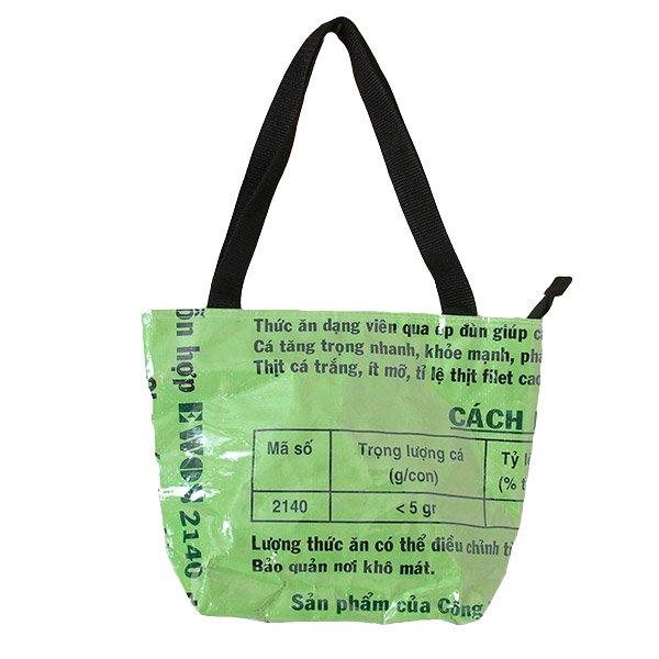 ベトナム 飼料袋 リメイク バッグ(肩掛けOK マチ付き 魚 グリーン )【画像2】