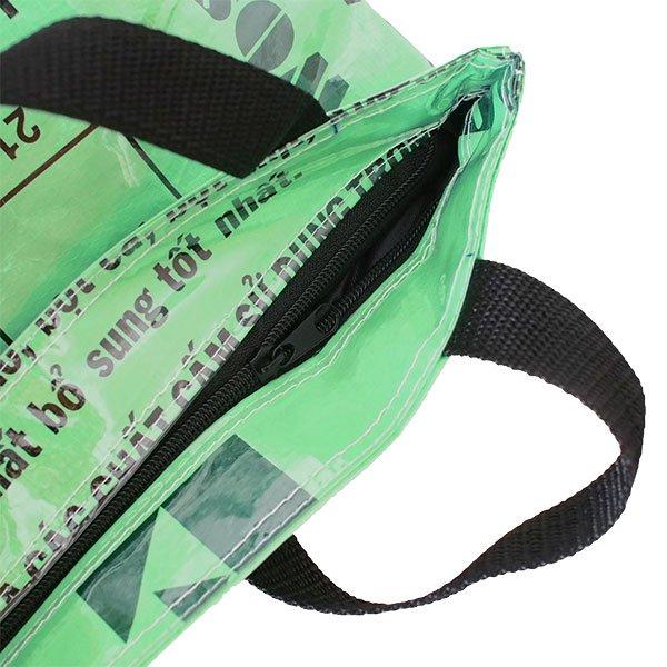 ベトナム 飼料袋 リメイク バッグ(肩掛けOK マチ付き 魚 グリーン )【画像4】
