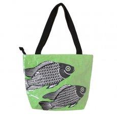 ベトナム 飼料袋 リメイク バッグ(肩掛けOK マチ付き 魚 グリーン )