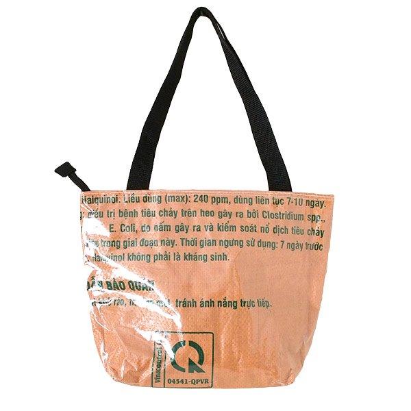 ベトナム 飼料袋 リメイク バッグ(肩掛けOK マチ付き ブタ ブラウン )【画像2】