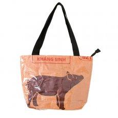 ベトナム 飼料袋 リメイク バッグ(肩掛けOK マチ付き ブタ ブラウン )