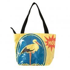 トリ (鳥) 雑貨 ベトナム 飼料袋 リメイク バッグ(肩掛けOK マチ付き コウノトリ イエロー)