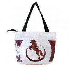 飼料袋リメイク ベトナム 飼料袋 リメイク バッグ(肩掛けOK マチ付き 馬 ブラウン)