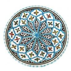 チュニジア SLAMA製 手描き 皿(ターコイズ 20cm)