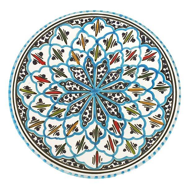 チュニジア SLAMA製 手描き 皿(ターコイズ 24cm)