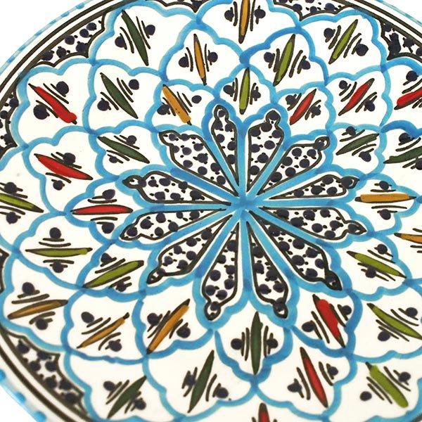 チュニジア SLAMA製 手描き 皿(ターコイズ 24cm)【画像2】