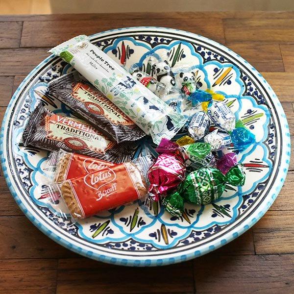 チュニジア SLAMA製 手描き 皿(ターコイズ 24cm)【画像4】
