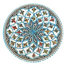 モロッコ・チュニジア 雑貨 チュニジア SLAMA製 手描き 皿(ターコイズ 24cm)