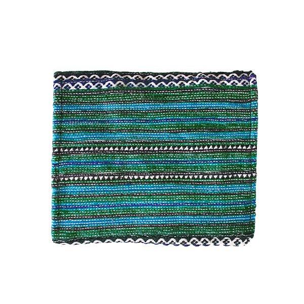 ベトナム  モン族 刺繍 財布(二つ折り グリーン)【画像2】