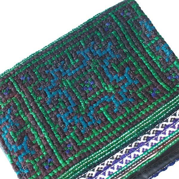 ベトナム  モン族 刺繍 財布(二つ折り グリーン)【画像3】