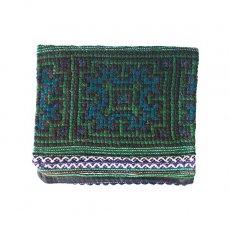 ベトナム 少数民族 モン族 刺繍 財布(二つ折り グリーン)民族 刺繍 / ベトナム直輸入