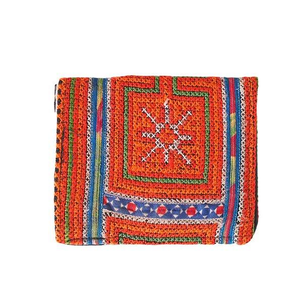 ベトナム モン族 刺繍 財布(二つ折り オレンジ)【画像2】