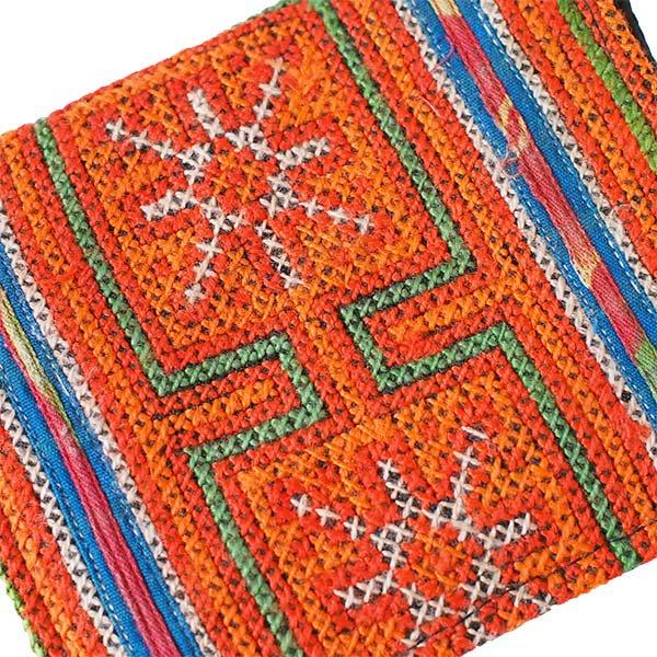 ベトナム モン族 刺繍 財布(二つ折り オレンジ)【画像3】