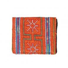 ベトナム 少数民族 モン族 刺繍 財布(二つ折り オレンジ)民族 刺繍 / ベトナム直輸入