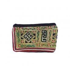 ベトナム 少数民族 黒モン族 古布 刺繍 ポーチ(長方形 11×17)民族 刺繍 / ベトナム直輸入