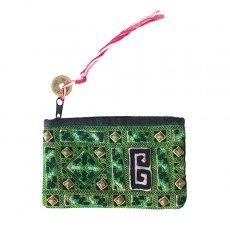 ベトナム 少数民族 黒モン族 古布 刺繍 ポーチ(タッセル付き グリーン 9.5×15.5)民族 刺繍 / ベトナム直輸入