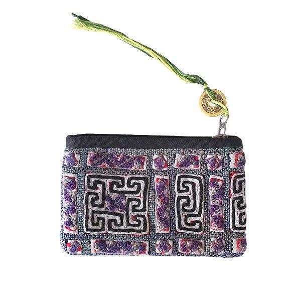 ベトナム 黒モン族 古布 刺繍 ポーチ(タッセル付き 長方形 グレイ)