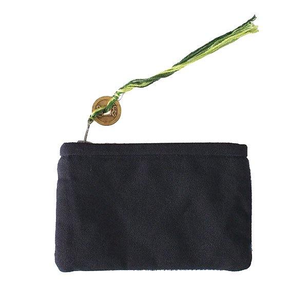 ベトナム 黒モン族 古布 刺繍 ポーチ(タッセル付き 長方形 グレイ)【画像2】