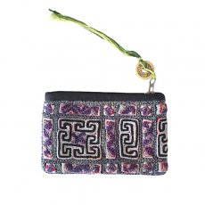 ベトナム 黒モン族 刺繍 ポーチ(タッセル付き 長方形 グレイ)