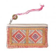モン族 古布 刺繍 ポーチ(タッセル付き A 10×17)民族 刺繍 / ベトナム直輸入