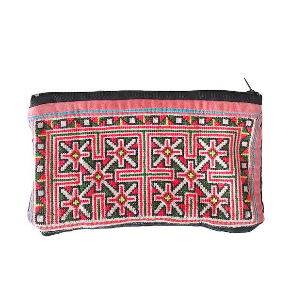 ベトナム モン族 刺繍 ポーチ(横長)