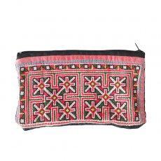 ベトナム 少数民族 モン族 古布 刺繍 ポーチ(横長 11×18.5)民族 刺繍 / ベトナム直輸入