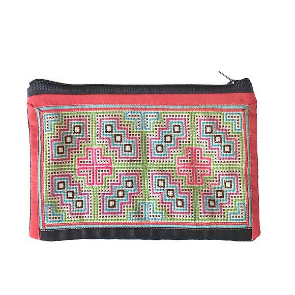 ベトナム モン族 古布 刺繍 ポーチ(長方形 A)