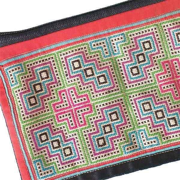 ベトナム モン族 古布 刺繍 ポーチ(長方形 A)【画像3】
