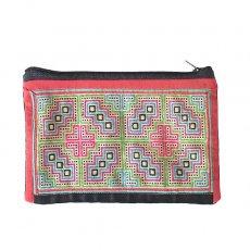 ベトナム 少数民族 モン族 古布 刺繍 ポーチ(長方形 A 11.5×17)民族 刺繍 / ベトナム直輸入