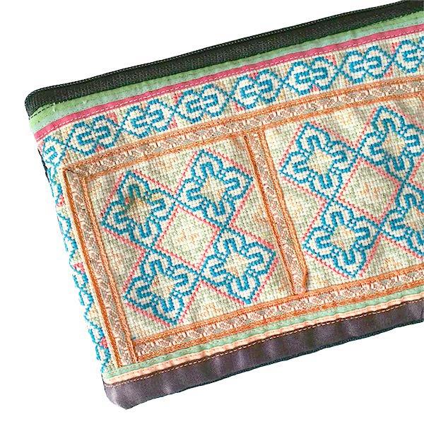 ベトナム モン族 古布 刺繍 ポーチ(長方形 B)【画像3】