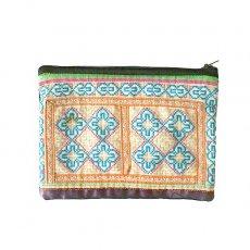ベトナム 少数民族 モン族 古布 刺繍 ポーチ(長方形 B 11.5×15.5)民族 刺繍 / ベトナム直輸入