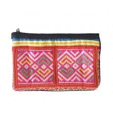 ベトナム 少数民族 モン族 古布 刺繍 ポーチ(長方形 C 11×17)民族 刺繍 / ベトナム直輸入