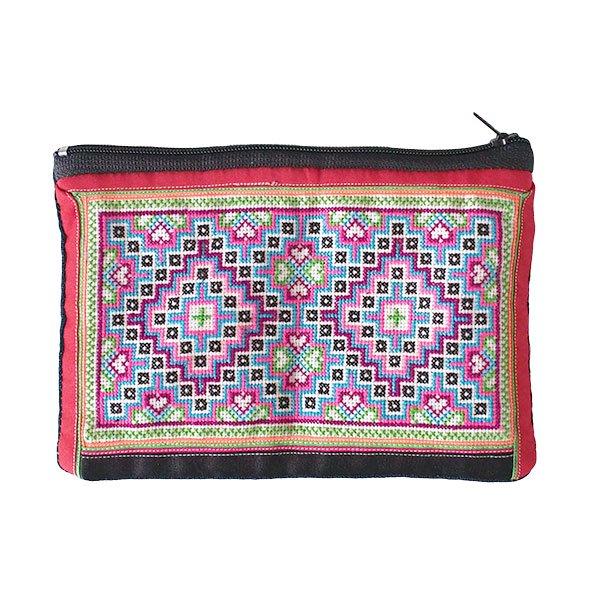 ベトナム モン族 古布 刺繍 ポーチ(長方形 D)