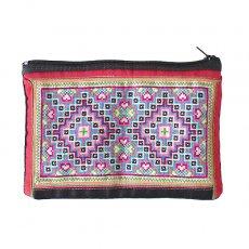 ベトナム 少数民族 モン族 古布 刺繍 ポーチ(長方形 D 11.5×16.5)民族 刺繍 / ベトナム直輸入