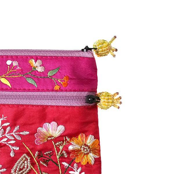 ベトナム 花 刺繍 ポーチ(ビーズ チャック C)【画像7】