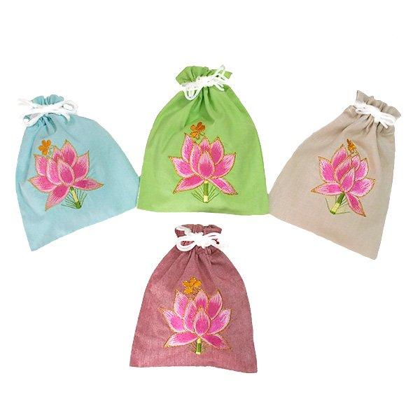 ベトナム 刺繍 巾着 (蓮 ハス  4色 20×16)