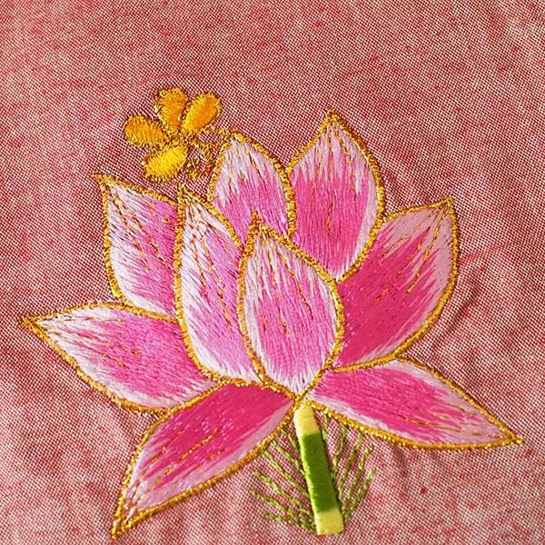 ベトナム 刺繍 巾着 (蓮 ハス  4色 20×16)【画像2】
