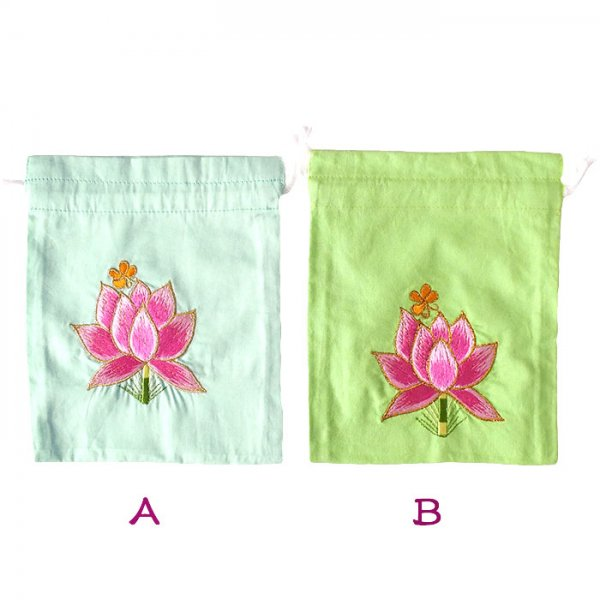 ベトナム 刺繍 巾着 (蓮 ハス  4色 20×16)【画像3】