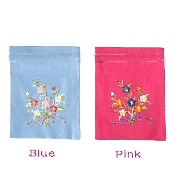 ベトナム 刺繍 巾着 小(花 A)【画像2】