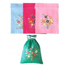オーガンジー / コットン 巾着 ベトナム 刺繍 巾着 小(花 A)