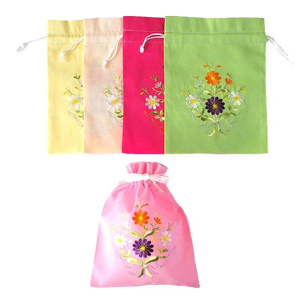 ベトナム 刺繍 巾着 小(花 C)